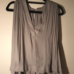 Free People army green flowy blouse